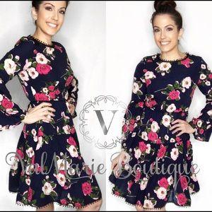Navy floral swing dress